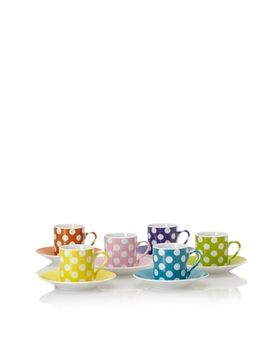 Classic Coffee & Tea White Dots Espresso Cups & Saucers, Set of 6 [Assorted]