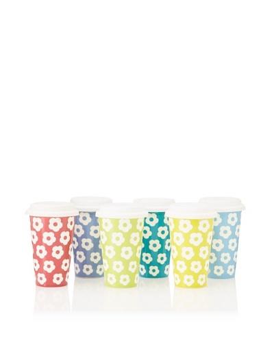 Classic Coffee & Tea Set of 6 Sandblasted Daisies Mugs, Assorted, 11-Oz.