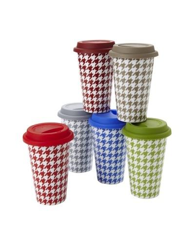 Classic Coffee & Tea Set of 6 Houndstooth Mugs, Assorted, 11-Oz.