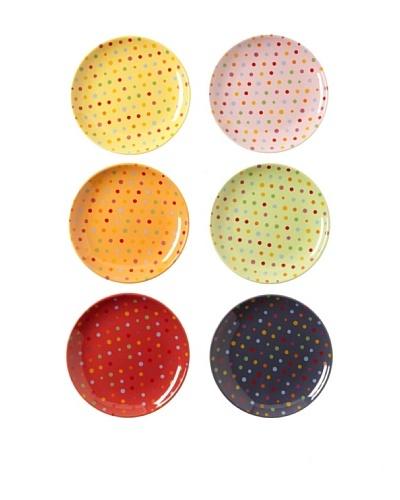 Classic Coffee & Tea Set of 6 Polka-Dot Dessert Plates