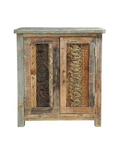 Melanie Vintage-Inspired Carved Cabinet in Lime Wash