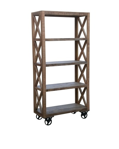 Coast To Coast Trolley Bookcase, Natural Mango