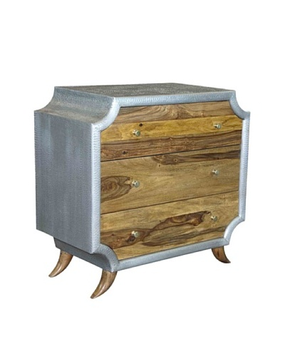 Coast To Coast Kingston 3 Drawers Chest, Silver/Brown
