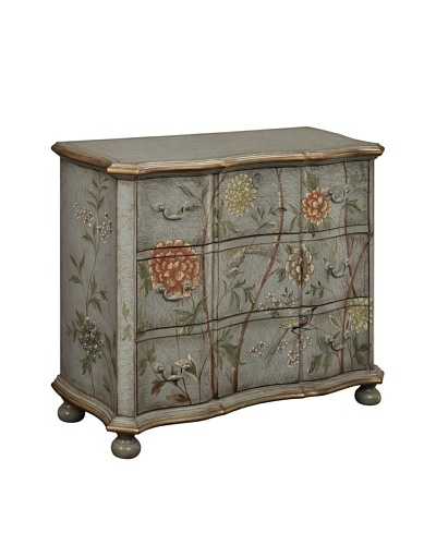 Coast to Coast Floral Bird Chest, Grey