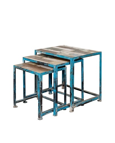 Coast to Coast Set of 3 Reclaimed Wood & Iron Nesting Tables, Natural/Blue
