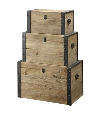 Coast to Coast Set of 3 Decorative Storage Boxes, Natural/Black