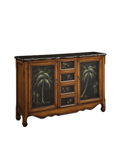 Coast to Coast Palm Rattan Inset Cabinet, Brown