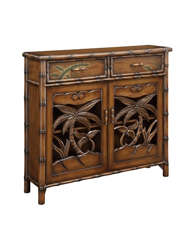 Coast to Coast Carved Palm Cabinet, Brown