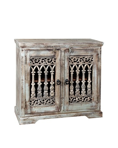 Coast to Coast Double-Door Reclaimed Wood & Iron Sideboard, Washed Grey