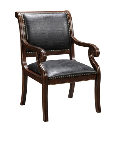 Coast to Coast Faux Leather Accent Chair, Black/Brown