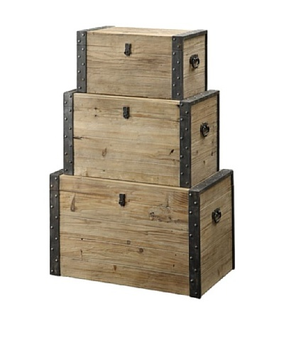 Coast to Coast Set of 3 Decorative Storage Boxes, Natural/Black