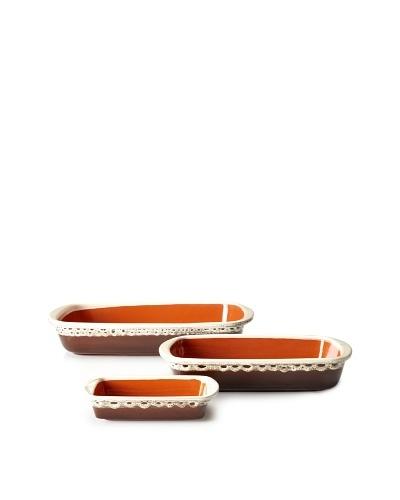 COLI 3-Piece Rectangular Baker Set, Brown