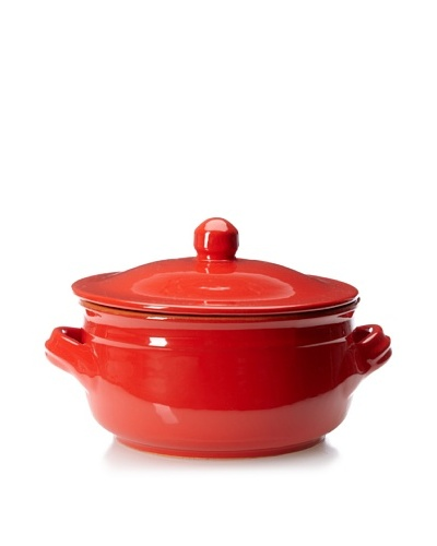Coli Bakerware Italian Ceramic 1.25-Qt. Round Sauce Pan with Lid, Red