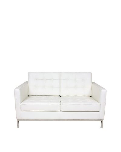 Control Brand The Draper Leather 2-Seat Sofa, White