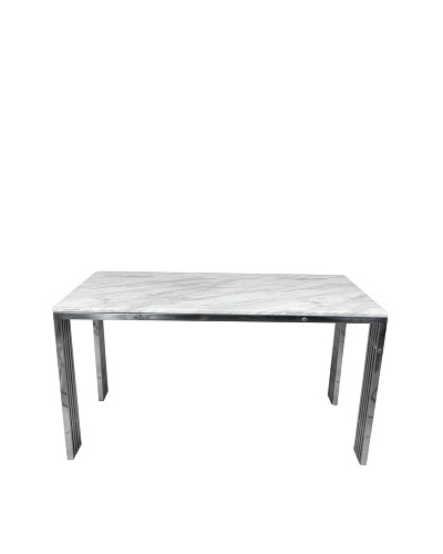 Control Brand Carrara Marble and Stainless Steel Dining Table, White Marble