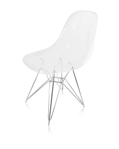 Control Brand Acrylic Side Chair with Chrome-Plated Base, Clear/Silver