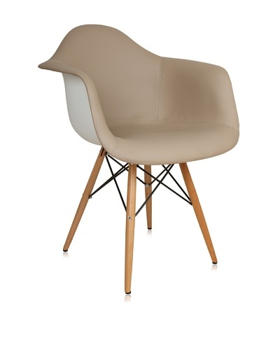 Control Brand Mid-Century-Inspired Arm Chair with Vinyl-Covered Seat, Brown/White