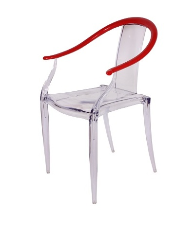 Control Brand Ming Ghost Chair, Clear/Red