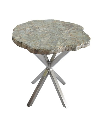 Control Brand Good Form Table with Malachite Top & Steel Base