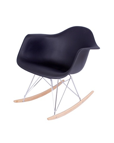 Control Brand Adult-Sized Mid-Century-Inspired Rocking Chair, Black
