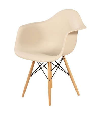 Control Brand Mid Century-Style Eiffel Arm Chair with Wooden Dowel Legs, Beige