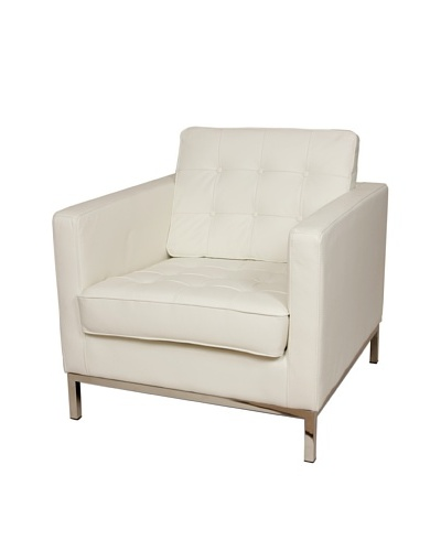 Control Brand The Draper Leather Armchair, White