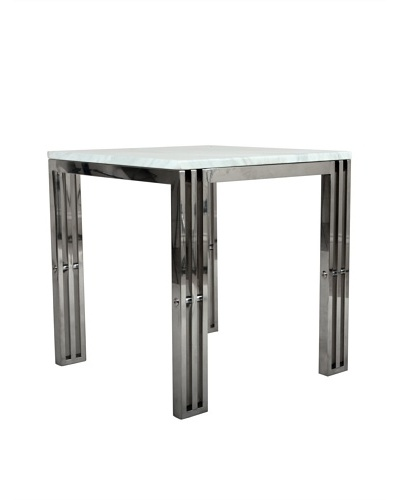 Control Brand Carrara Marble & Stainless Steel End Table
