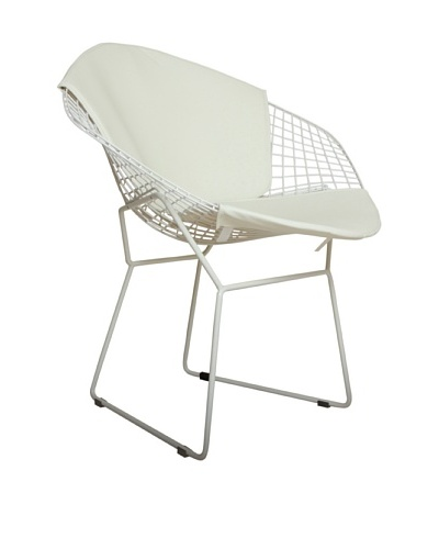 Control Brand Wire and Faux Leather Chair, White
