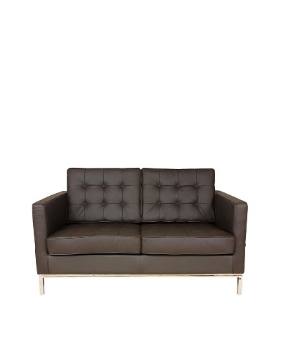 Control Brand The Draper Leather 2-Seat Sofa, Brown