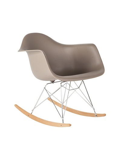 Control Brand Adult-Sized Mid Century-Style Rocking Chair with Arms and Ash Wood Sleighs, Grey