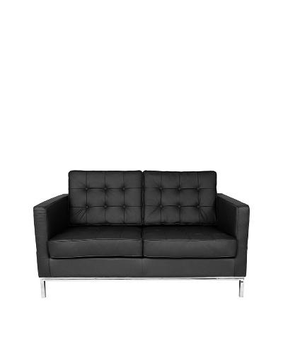 Control Brand The Draper Leather 2-Seat Sofa, Black