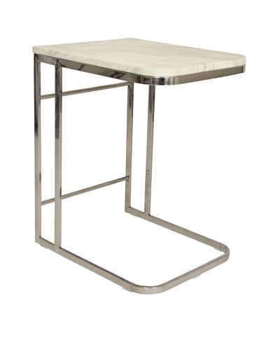 Control Brand Carrara Marble and Stainless Steel Side Table, White Marble