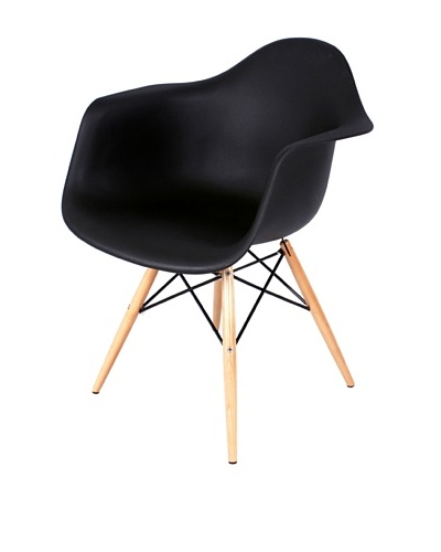 Control Brand Mid Century-Style Eiffel Arm Chair with Wooden Dowel Legs, Black