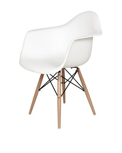 Control Brand Mid-Century-Inspired X-Leg Arm Chair, White