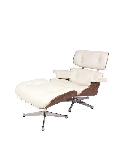 Control Brand Lincoln Lounge Chair & Ottoman, White