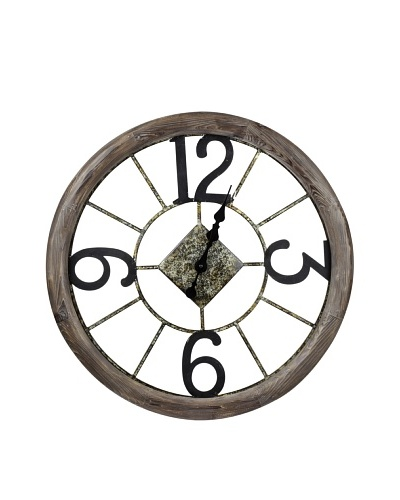 Cooper Classics Caravita Wall Clock, Natural Wood