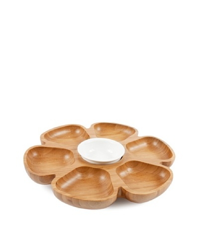 Core Bamboo Revolving Serving Platter, Natural/White