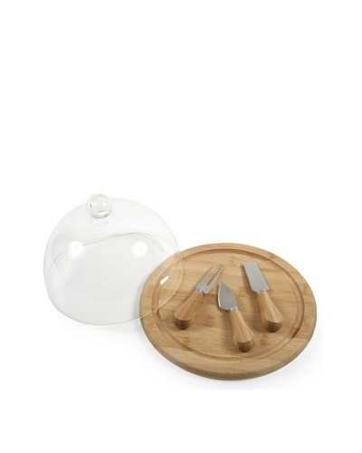 Core Bamboo 10138 Presentation Cheese Set with Glass Dome