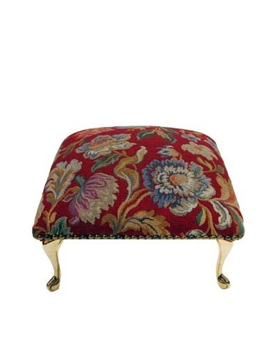 Corona Décor Co. Vintage Flora Red Footstool