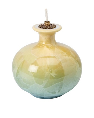 Cosmos Fine Porcelain Oil Lamp, Yellow/Green