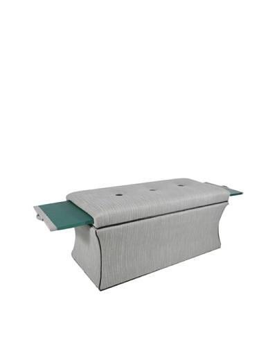 COUEF Madison Storage Bench, Emerald/Grey-White Herringbone