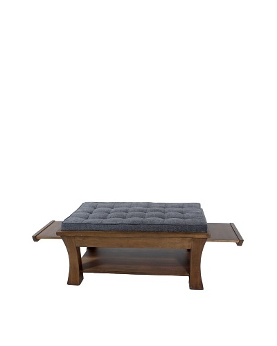 COUEF Jared Coffee Table, Latte/Washed Grey Chenille
