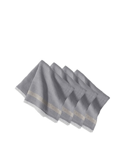 Couleur Nature Set of 4 Laundered Linen Napkins, Grey/Natural