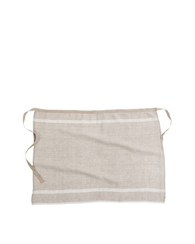 Couleur Nature Laundered Linen Half Apron, Natural/White