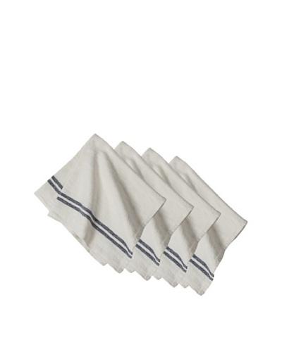 Couleur Nature Set of 4 Vintage Linen Stripe Napkins, Navy