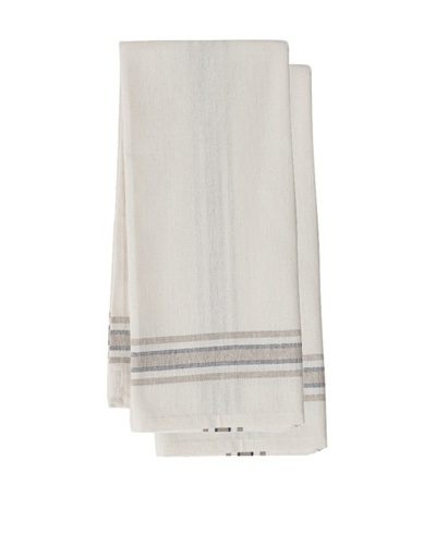 Couleur Nature Set of 2 Khadhi Tea Towels, White/Beige/Navy