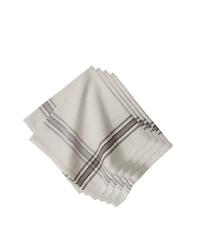 Couleur Nature Set of 4 Khadhi Napkins, White/Beige/Navy