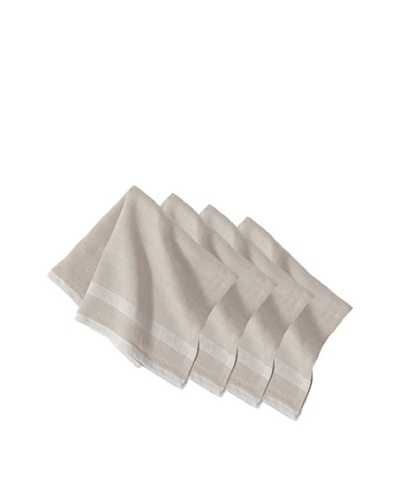 Couleur Nature Set of 4 Laundered Linen Napkins, Natural/White
