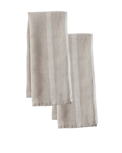 Couleur Nature Set of 2 Laundered Linen Tea Towels, Natural/White