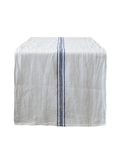 Couleur Nature Vintage Linen Striped Runner, Navy